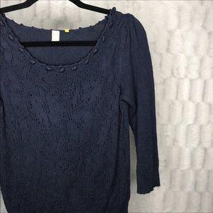 Anthropologie Navy Blue Knit Short Sleeve Sweater